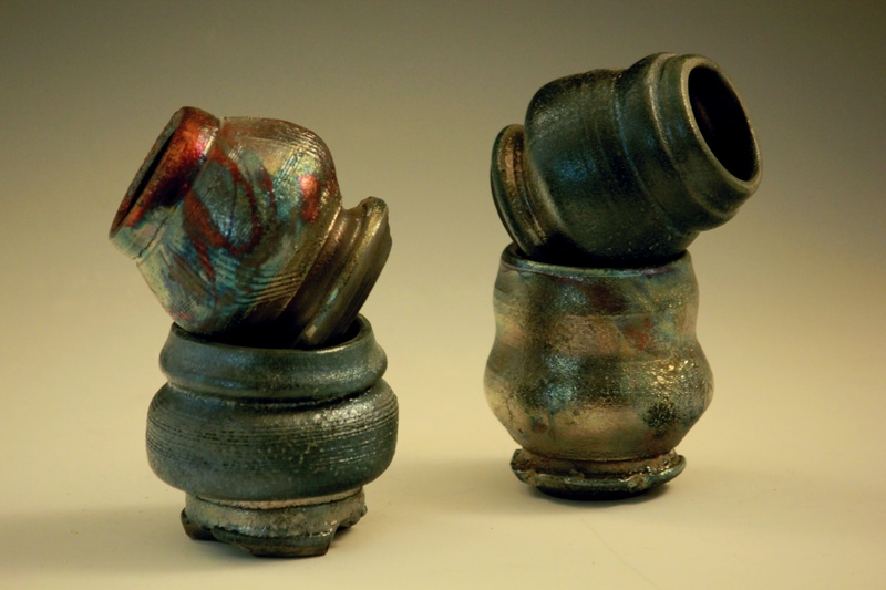 Raku fired Candle Holders